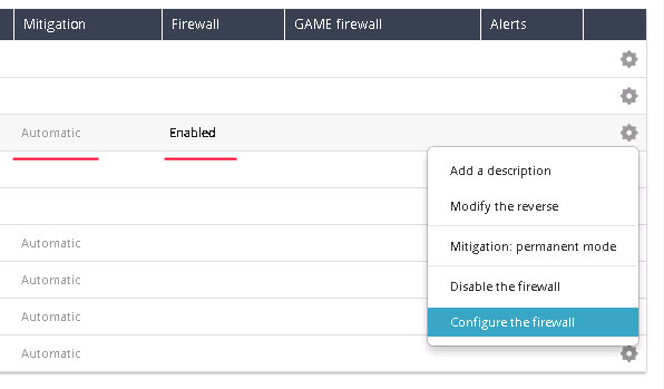 OVH IP Configure firewall Add Rule for Anti DDOS